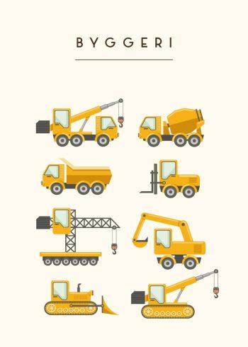 forskellige bygge maskiner i gul med rå hvid baggrund