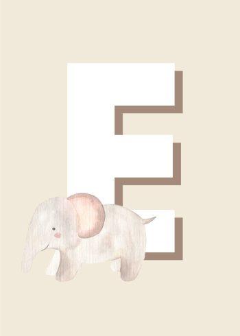 hvidt e og beige elefant og baggrund
