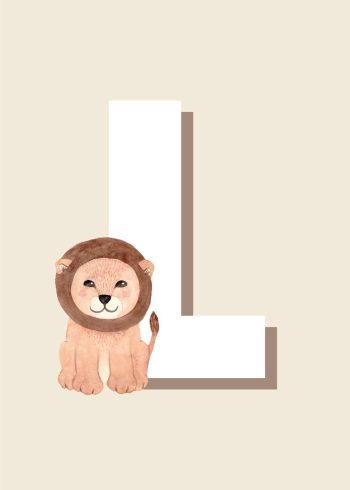 løve I brun, hvidt l og beige baggrund