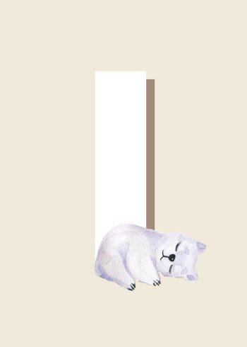 hvidt i, sovende isbjørn i hvid og beige baggrund