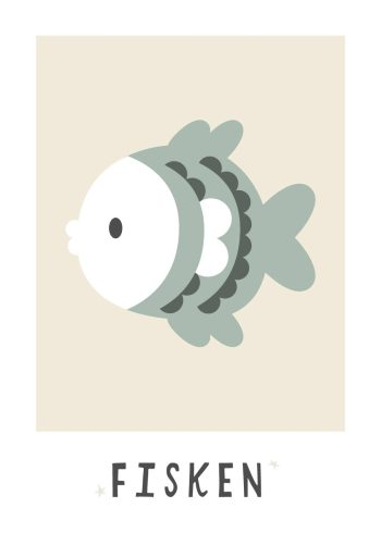 fisk i grøn blå farve med beige baggrund