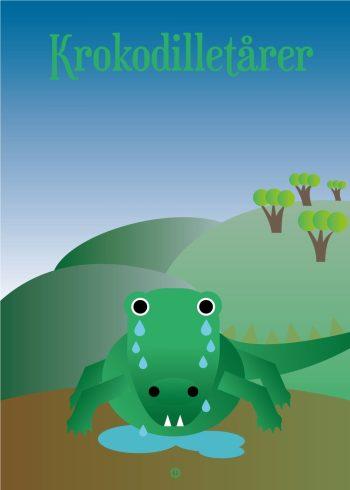 grøn krokodille med blå himmel og skov i baggrunden