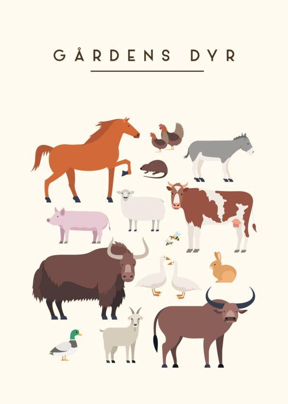 forskellige dyr på en gård med rå hvid baggrund