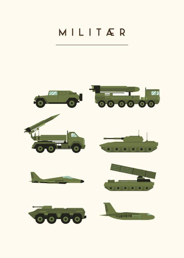 8 forskellige millitær maskiner i grøn med rå hvid baggrund
