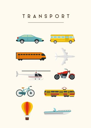 bil, bus, lastbil, bus, fly, tog, motercykel, luftballon, skib med råhvid baggrund