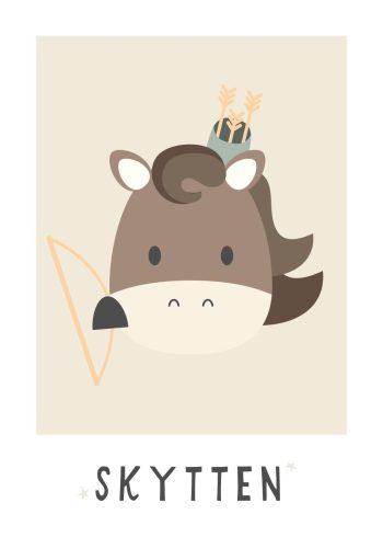 hest med bue og pil og beige baggrund
