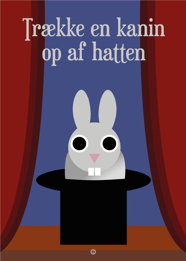 grå kanin i sort hat med røde gardiner og lilla baggrund