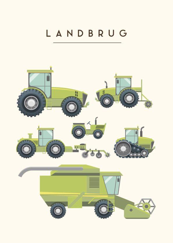 grønne maskiner som bruges på en gård med rå hvid baggrund