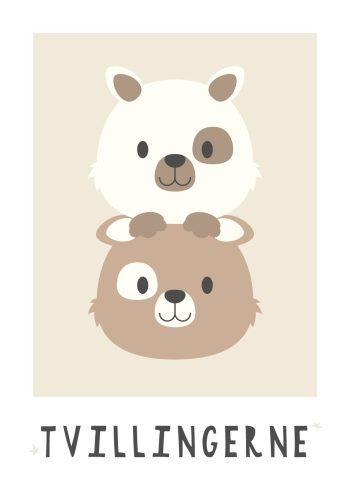 to bamser i brun og hvid og sandfarvet baggrund