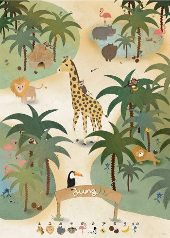 forskellige dyr i junglen og 10 søde illustrationer