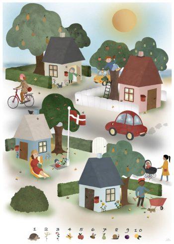 en lille by med fire huse og 10 søde illustrationer