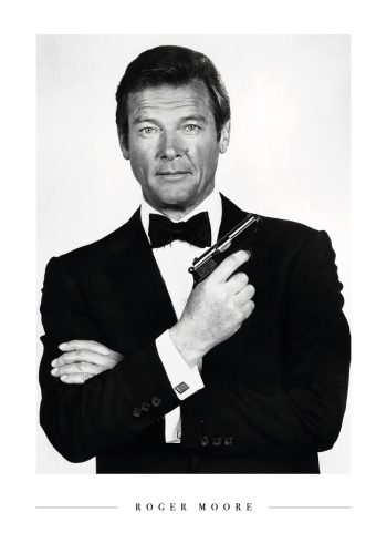 roger moore som james bond i sort hvid