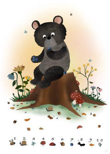tælle plakat med bjørn og søde illustrationer