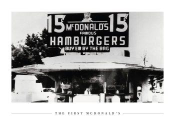 den første mcdonalds i sort hvid farver