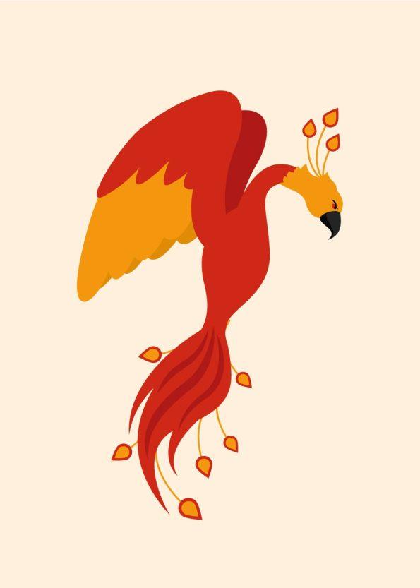 orange og rød fugl på lys orange baggrund