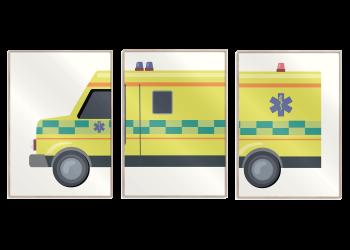 gul ambulance med blå og rød blink