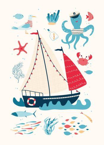 stort skib og illustrationer af hvad du finder i havet