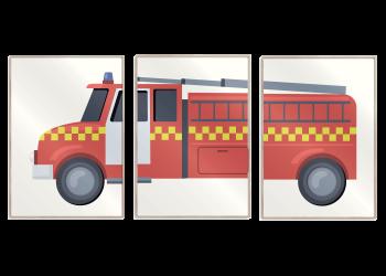 3 i 1 plakat med rød brandbil