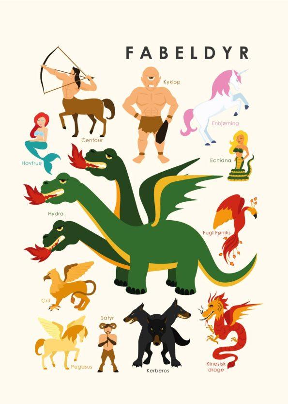 fabeldyr og mytologi på rå hvid baggrund