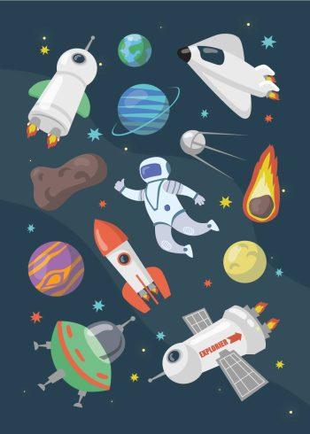 jorder, meteor, raket, astronaut, astroide, rumskib, månen i forskellige farver med mørkeblå baggrund