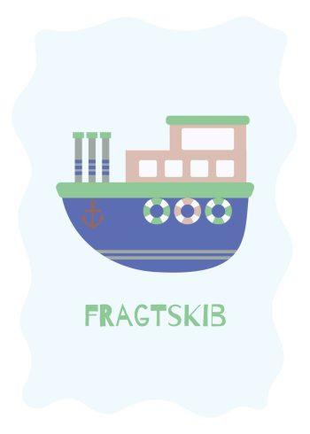 blåt, grønt og brunt fragtskib på lyseblå baggrund