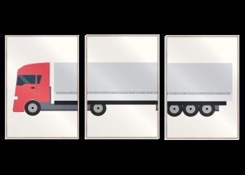 plakatsæt med lastbil