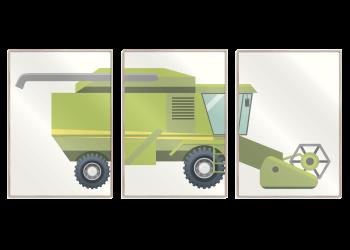 grøn mejetærsker 3 delt