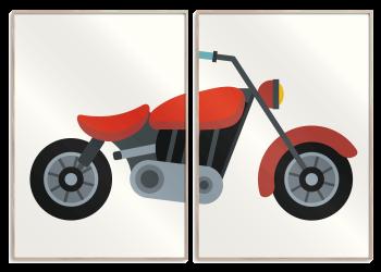 to delt plakat med rød motorcykel
