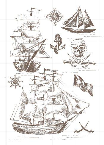 skitser med pirat skib, kompas, dødningehoved