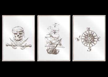 dødninghoved, piratskib og kompas