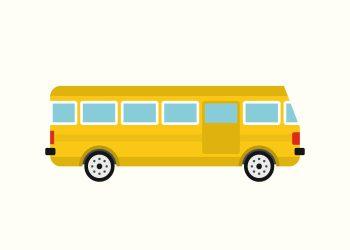 gul bus med rå hvid baggrund