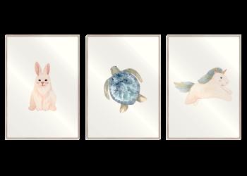 kanin, skildpadde og enhjørning