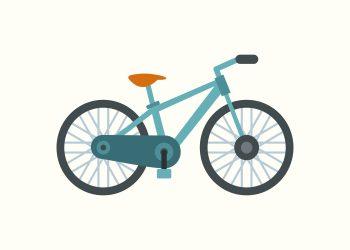 blå cykel på rå hvid baggrund