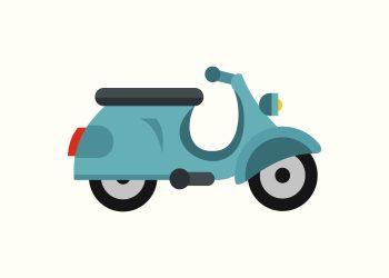 blå scooter på rå hvid baggrund