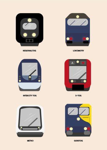 forskellige danske toge på beige baggrund