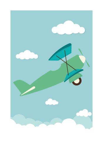 grøn flyvemaskine, der flyver i mellem skyerne på en blå himmel