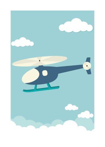 blå helikopter mellen hvide skyer og blå baggrund