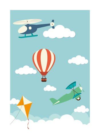 flyvemaskine, helikopter, drage og luftballon på blå baggrund med skyer