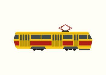moderne tog i gule og røde farver