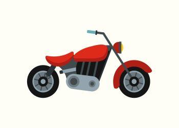 rød motorcykel på rå hvid baggrund