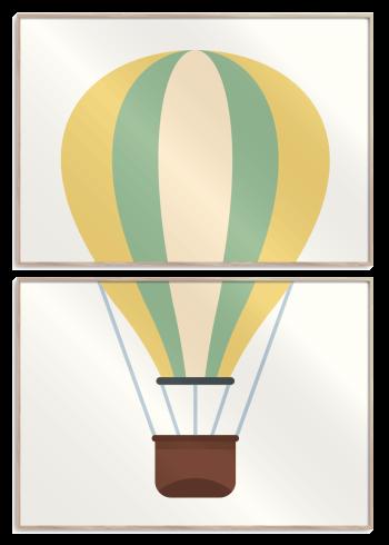 luft ballon i gul, grøn og brun