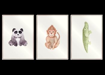 pande, abe og krokodille