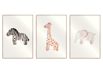 zebra, giraf, elefant