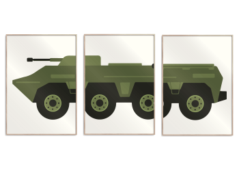 kæmpkøretøj i grøn på rå hvid baggrund