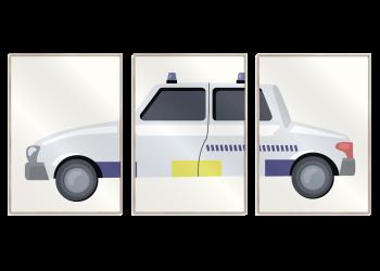 hvid politibil med gule og blå detaljer