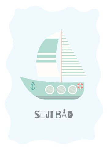 grøn sejlbåd på lyseblå baggrund