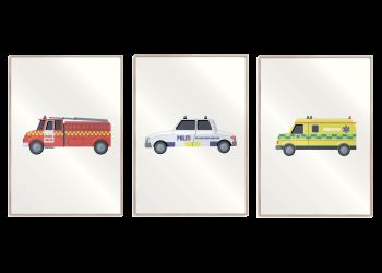 en ambulance, en politibil, en brandbil