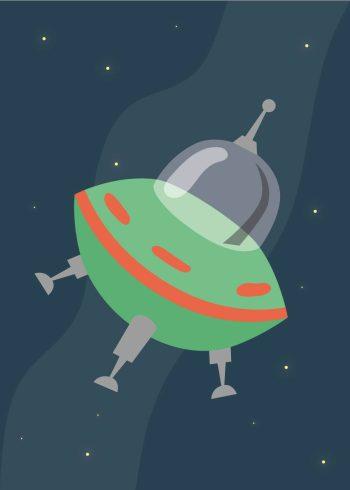 grøn ufo på mørkeblå baggrund med stjerner