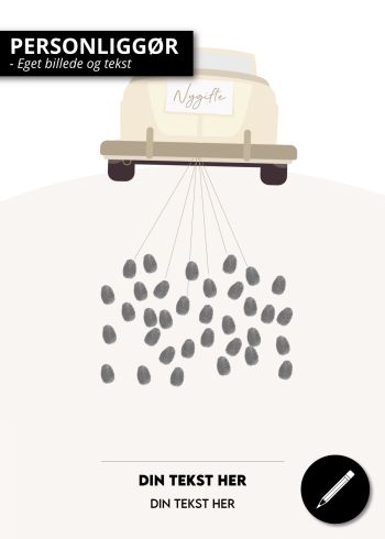 Sjov plakat til bryllup med mulighed for at sætte fingeraftryk